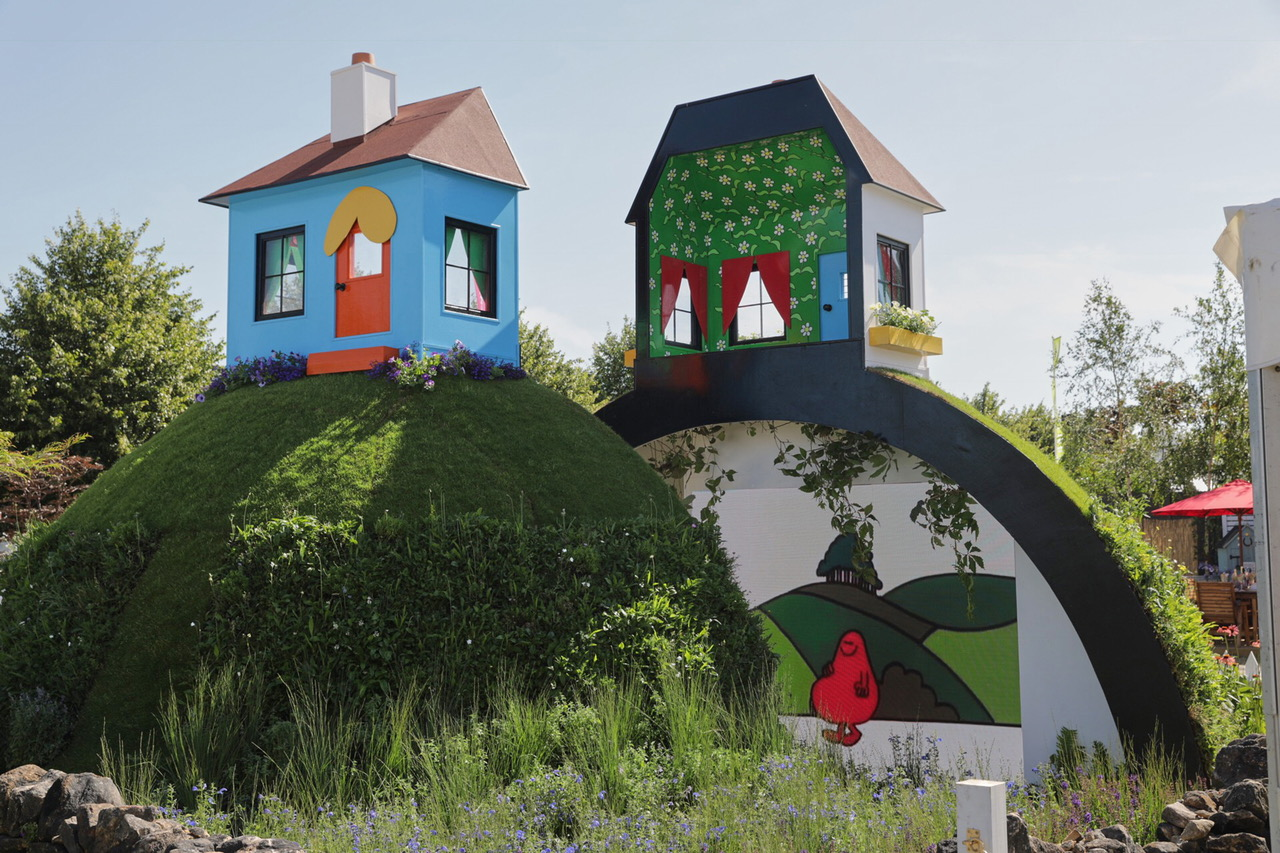 Children with Cancer UK and Mr. Men Little Miss, Mr. Happy Mr. Worry Hill, RHS Hampton Court Palace Flower Show - 2 Jul 2018